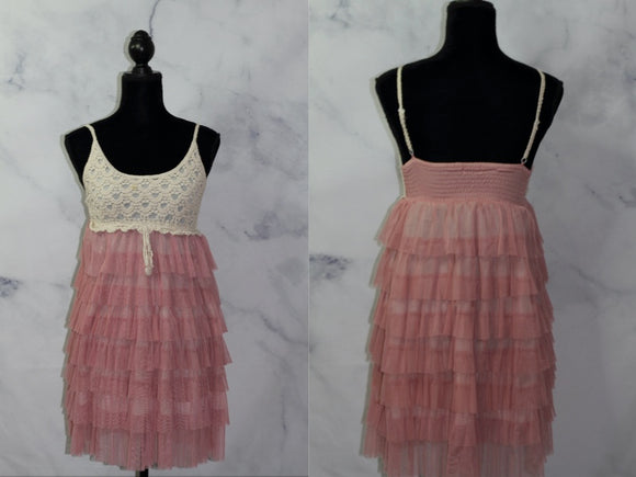 Tan & Pink Ruffle Cotton Apron Dress (S-M)