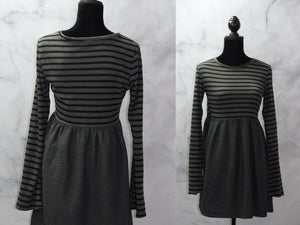 Savannah Rae  Grey & Black Stripe Sheath Dress (L)
