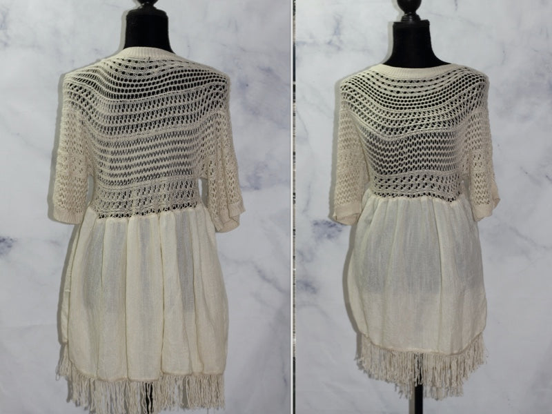 Velzera Cream Net Cotton Dress (2XL)
