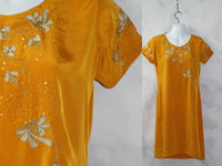 Handmade Mustard Yellow Beaded Dress (XS-S)