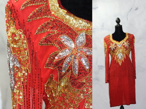 Milano Decorative Sequin Beaded Red Gown (L)