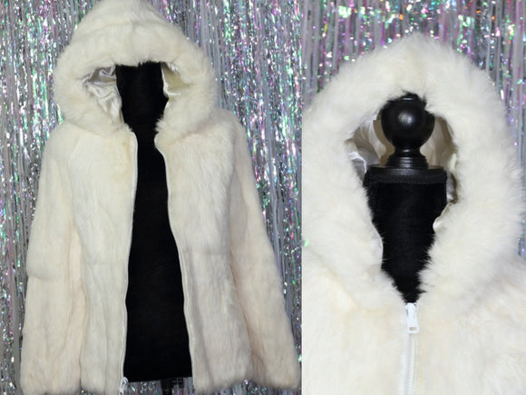 Rabbit Fur Coat with Hoodie