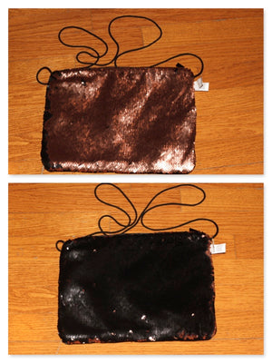 Black & Gold Reversible Cross Body Handbag