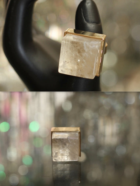 Clear Square Crystal Gold Plated Ring (Size 6)