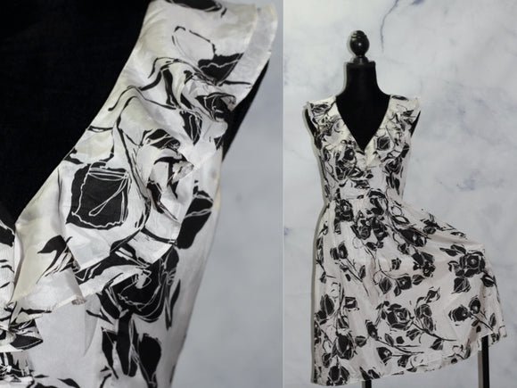 Kristin Davis Silk Floral Black & White A - Line Dress (6)