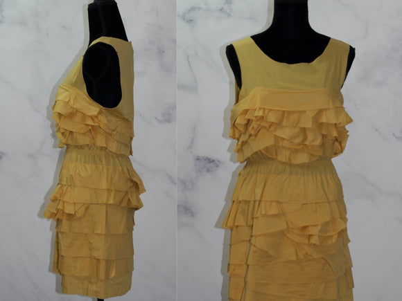 Althea Ruffled Yellow A-Line Sleeveless Dress (L)