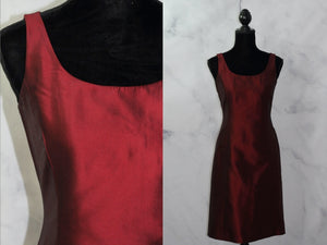 Ann Taylor Silk Cranberry A-Line Dress (2)