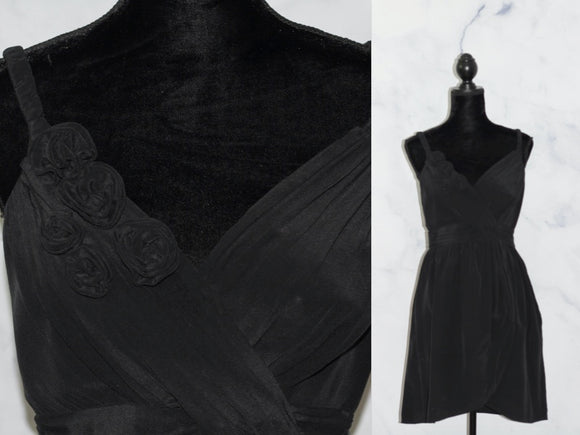 5/48Silk Decorative Rose  Black Dress (10)