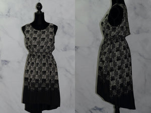 Black White Silk Asymmetrical Dress (S)