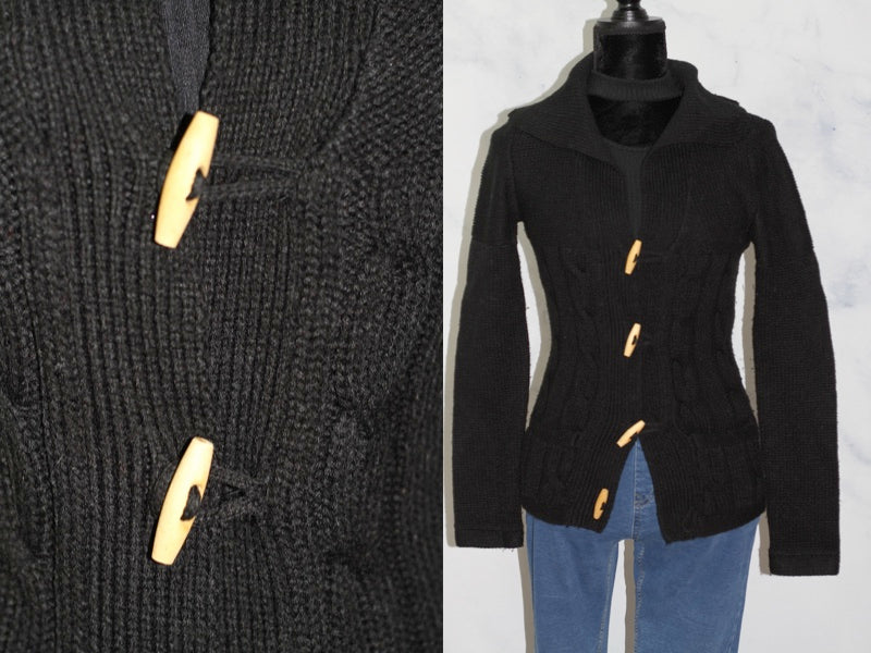 Kim Rodgers Black Sweater with Wood Buttons (PS)