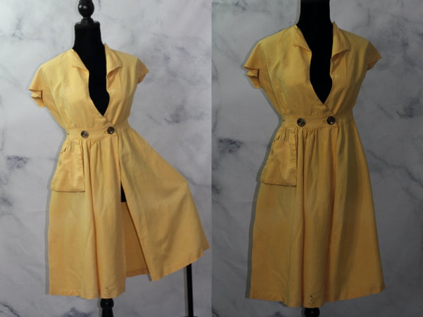 Fleur De Lis Yellow Sheath Dress (S-M)