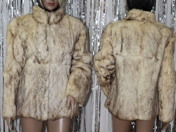 SplitEnd LTD Fur| Vintage Fur|VIntage Seventies Cream Colored Rabbit Fur Short Jacket|Mint Condition