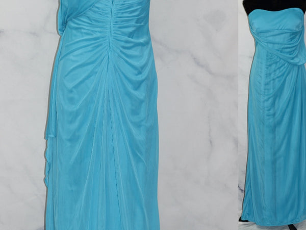 David's Bridal Blue One Shoulder Gown (S)