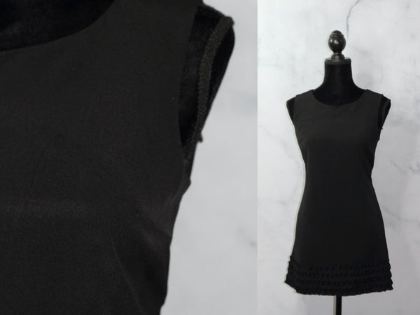 Black Shift Dress with Ruffled Bottom (S)
