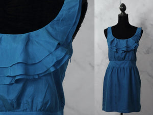 Ann Taylor Silk Blue Sheath Dress (6)