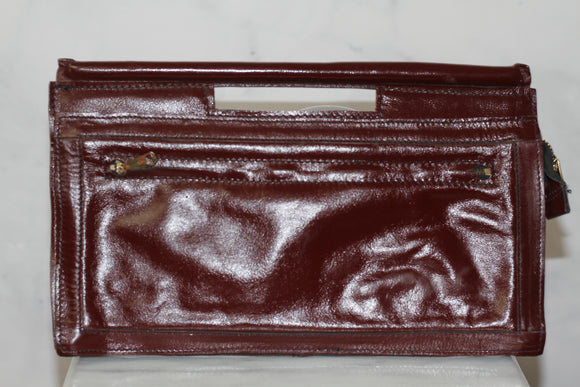 Burgundy Red Leather Clutch