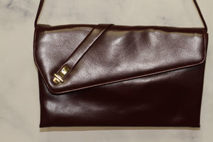 Leather Burgundy Clutch Handbag with Interior Mirror