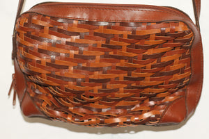 Leather Woven Brown Pouch Handbag