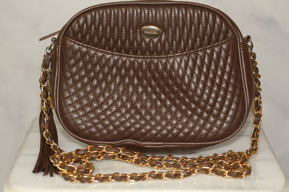 Koschi Brown Quilted Leather Shoulder Handbag