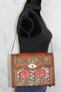 Handcrafted Brown Leather Rose Handbag