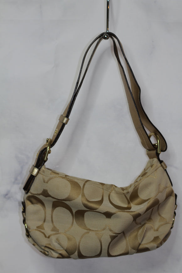 Gold Coach Monogram  Hobo Bag with Pink Lining * Excellent Condition