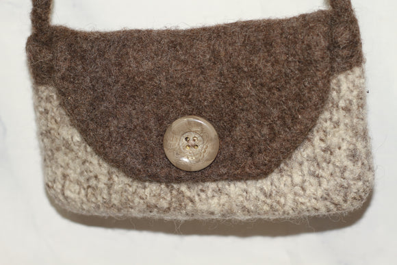 Handmade Wool Grey Small Cross Body Bag