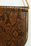 Gold & Brown Envelope Leather Clutch Handbag with Gold Trim