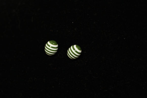 Green & White Stripe Stud Earrings