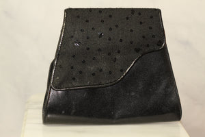 Leather Black Sequin Envelope Clutch