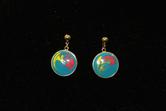 Multi Color Round Earrings