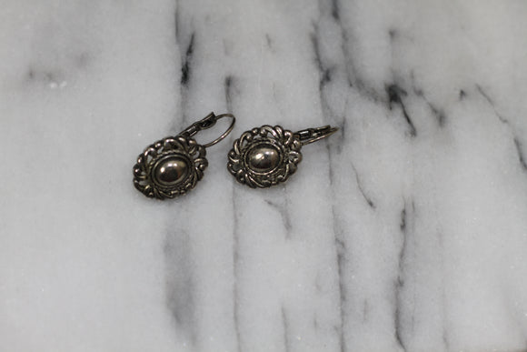 Silver Oval Clip On Earrings