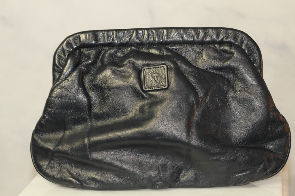 Ann Klein Leather Navy Blue Convertible Clutch Handbag