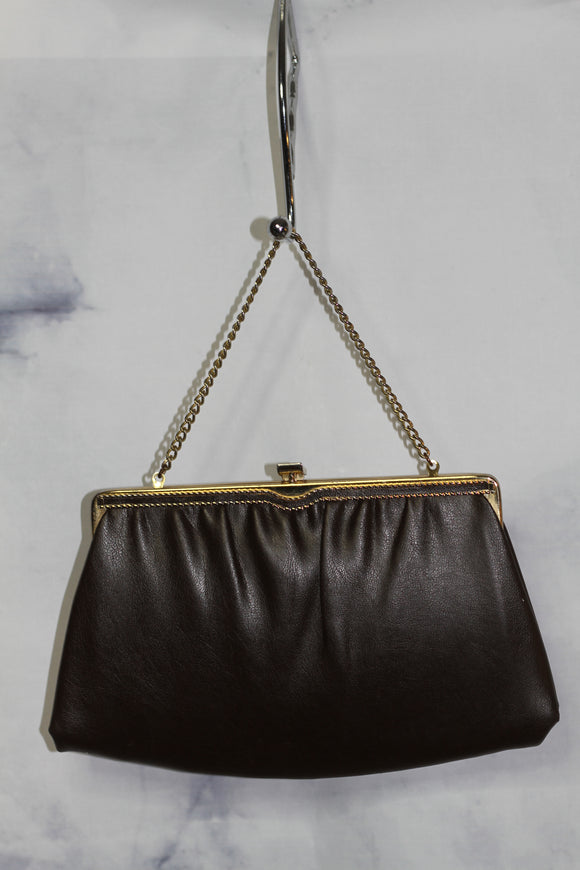 Dark Brown Leather Clutch with Gold Trimming