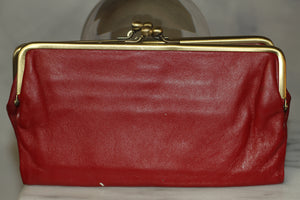 Leather Red & Gold Clutch