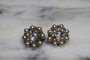 Japan Pearl Rhinestone Cluster Clip On Earrings