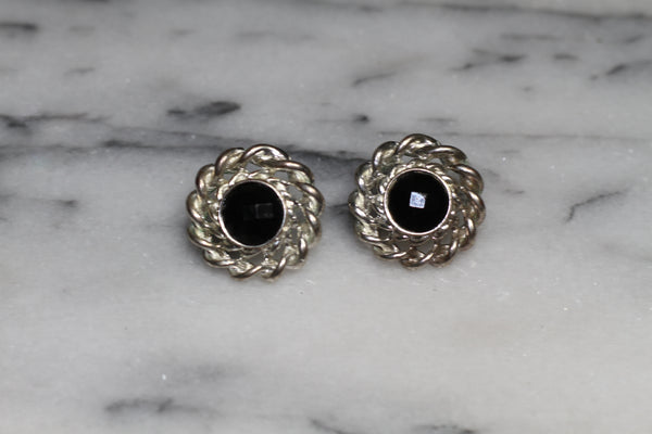 Silver Round Black Earrings