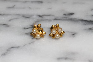 AK Vintage Gold Pearl Clip On Earrings