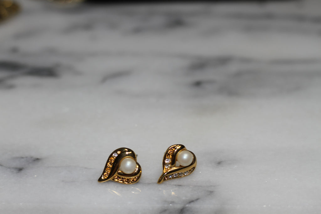Gold & Pearl Heart Earrings