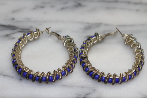 Blue Silver Spiral Earrings