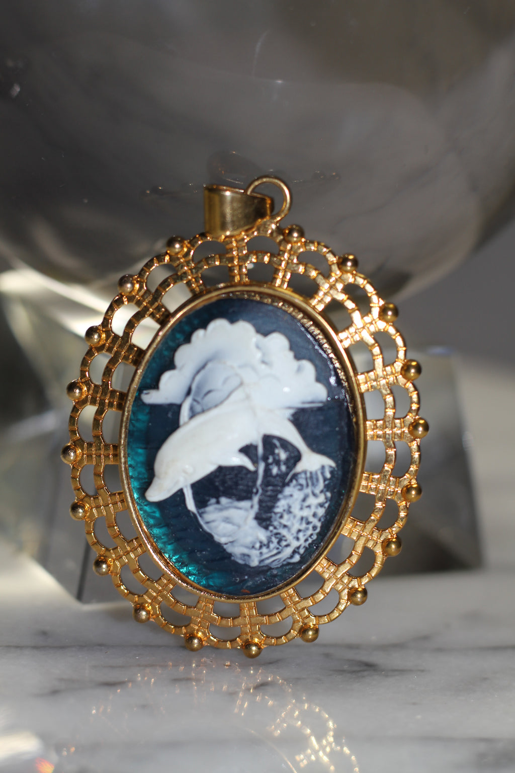 Gold & Blue Oval Dolphin Pendant