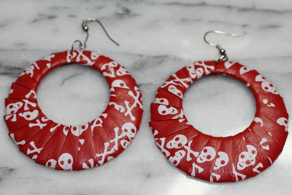 Red & White Skull Hoop Earrings