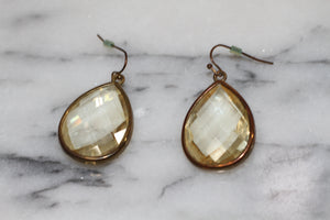 Crystal Gold Dangle Earrings