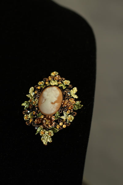 Vintage Cameo Colorful Brooch