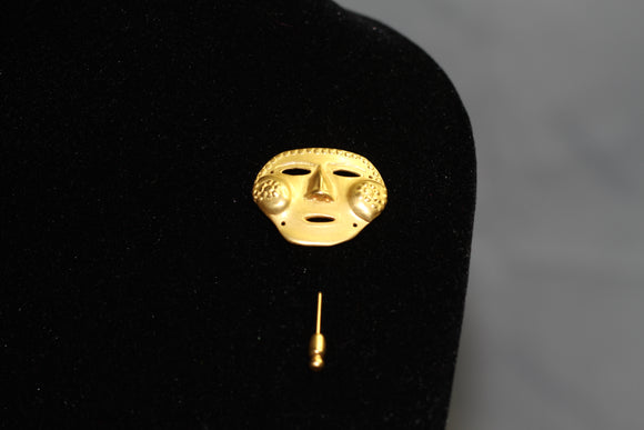 Gold Mask Brooch