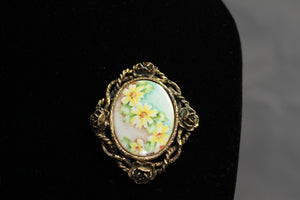 Gold Floral Picture Brooch Pendant