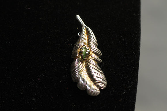 Gold Leaf Brooch with Green Stone