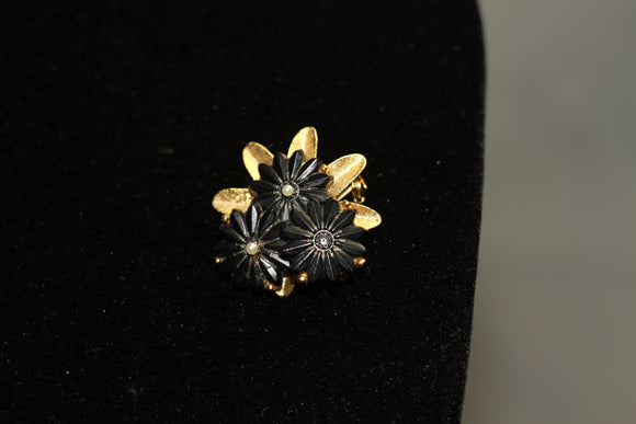 Black & Gold Floral Brooch