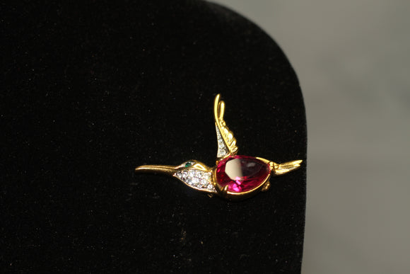 Gold Bird Brooch with Pink Stone