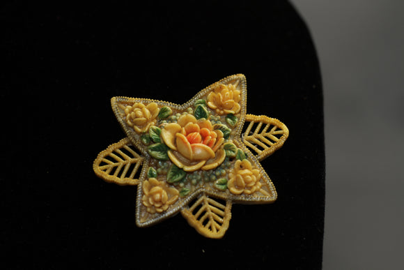 Yellow Tan Rose Brooch