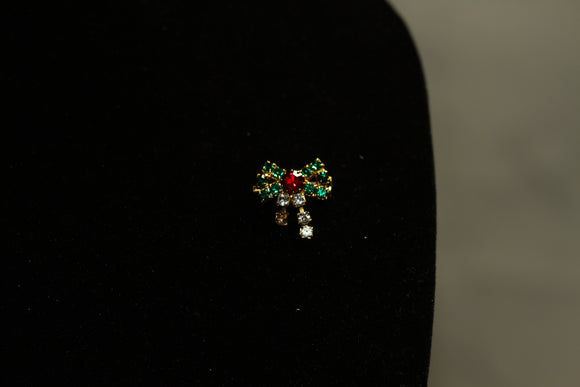 Red Green Rhinestone  Bow Brooch
